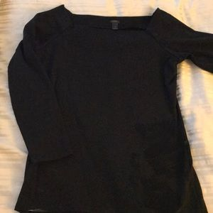 Boat necked black cotton top.